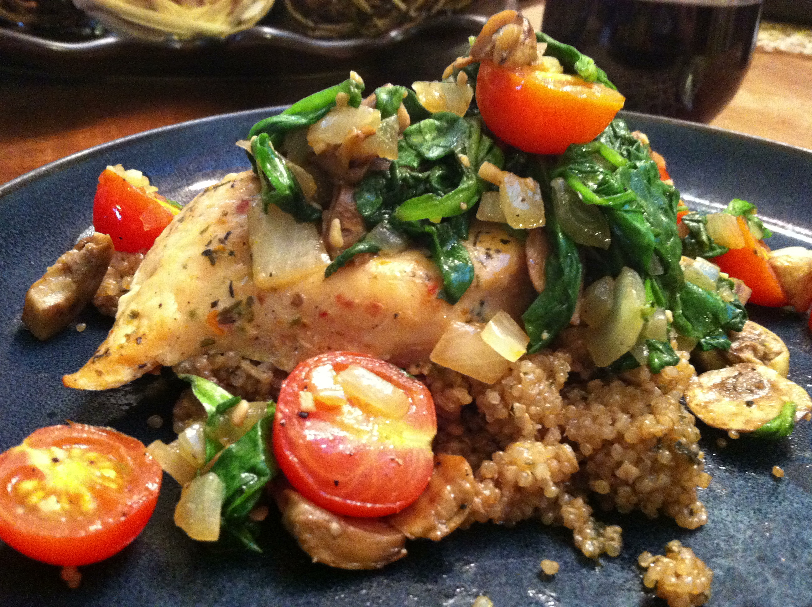 Baked chicken and quinoa