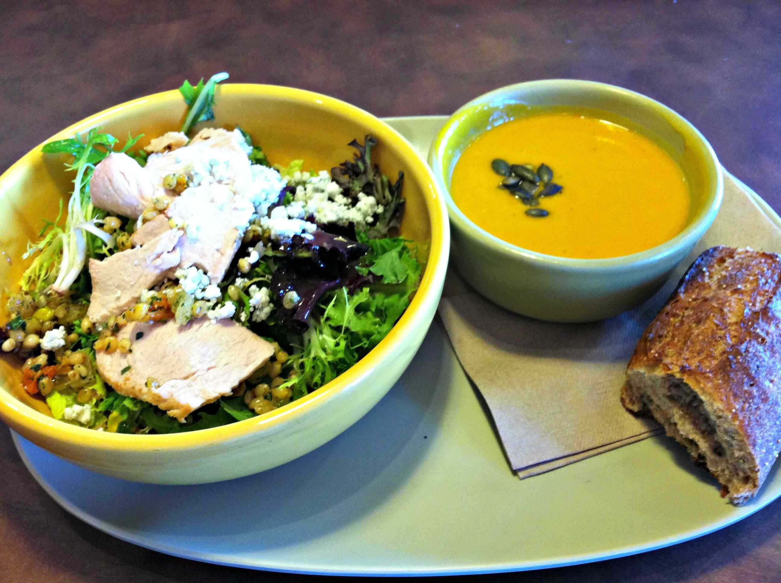 Panera Turkey Salad and squash soup