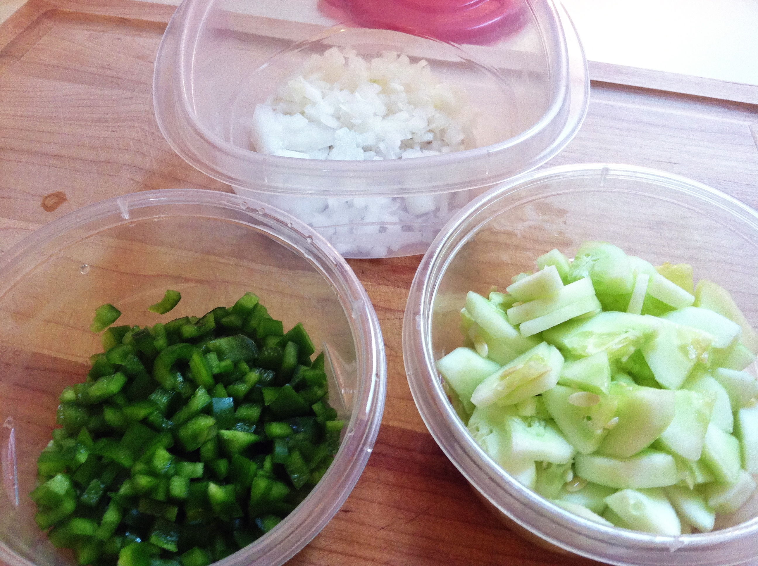 Prepped veggies