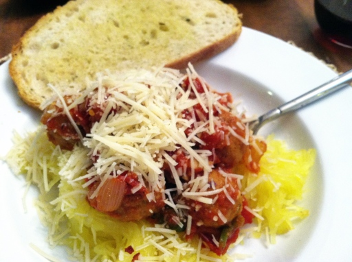 spaghetti squash and meatballs