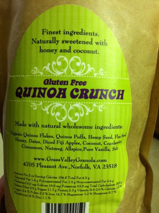 Quinoa granola ingredients