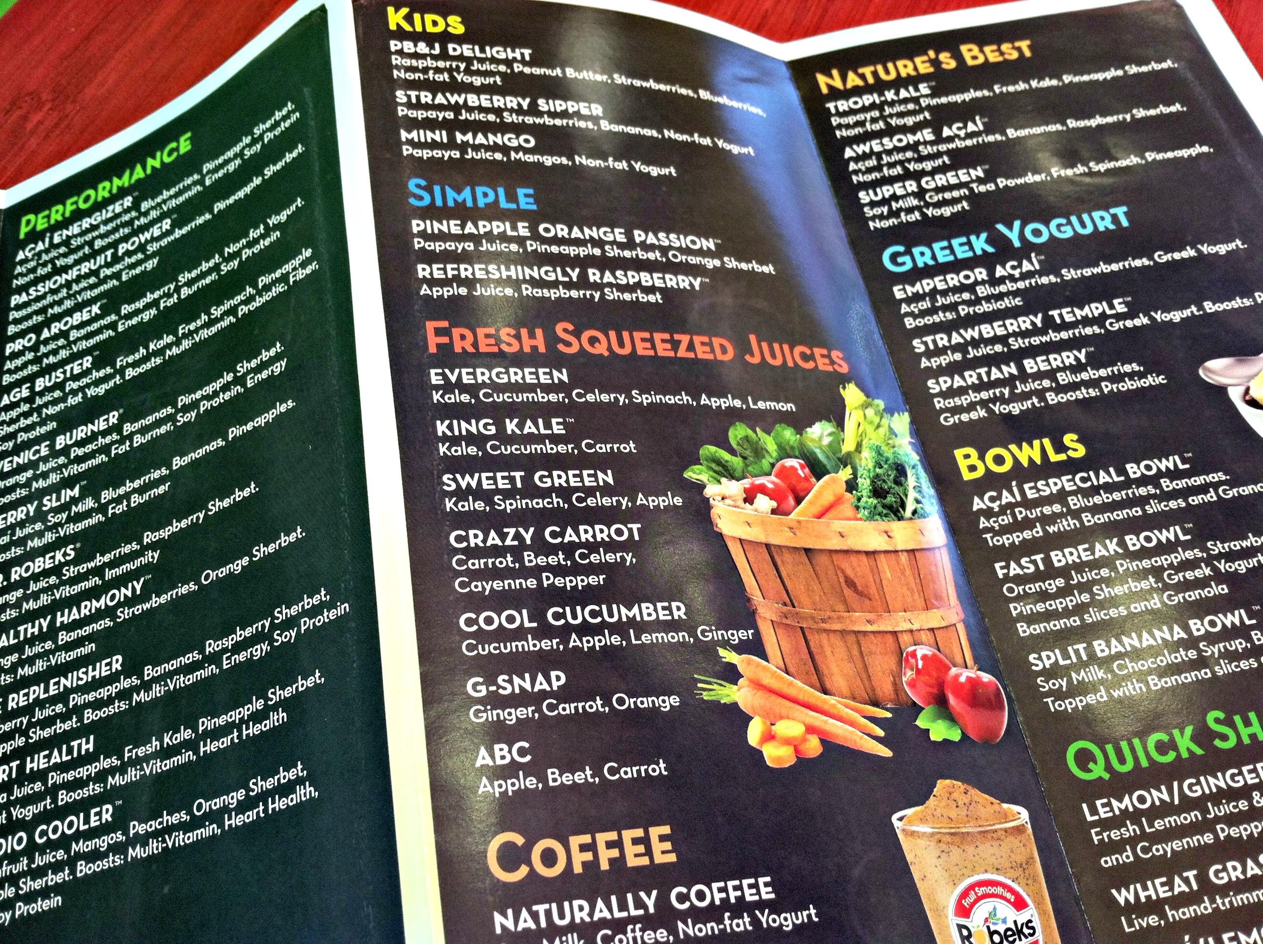 Robeks menu