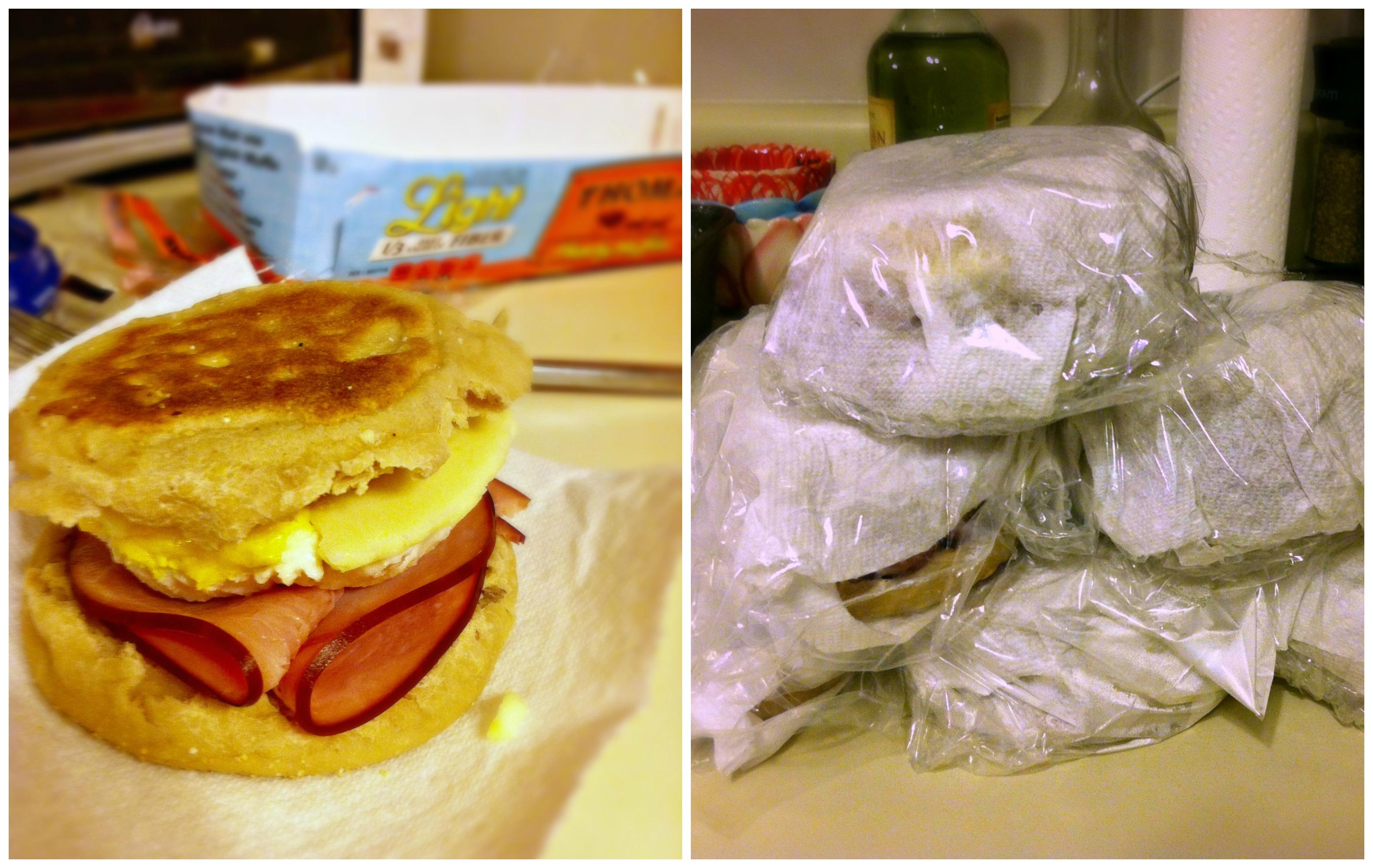 breakfast sandwich collage