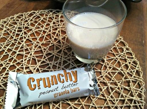 Granola bar and almond milk