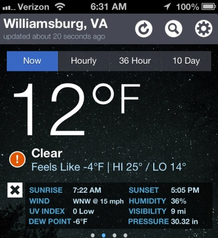 Screen shot- weather