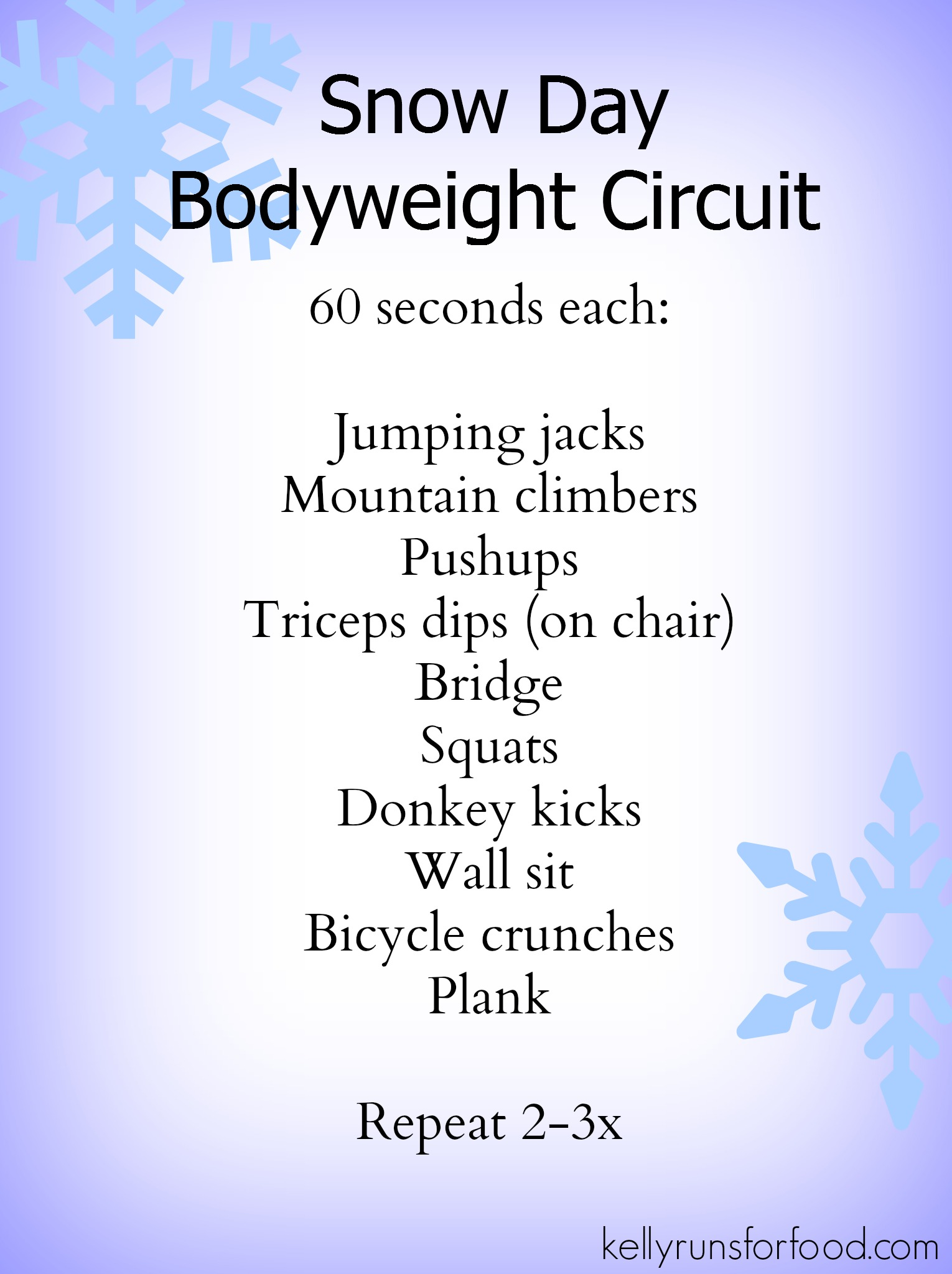 Snow Day bodyweight circuit