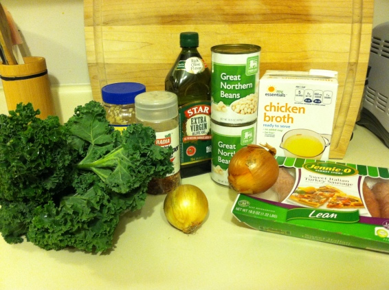 Turkey sausage and kale soup ingredients