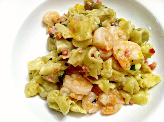 Shrimp and pancetta