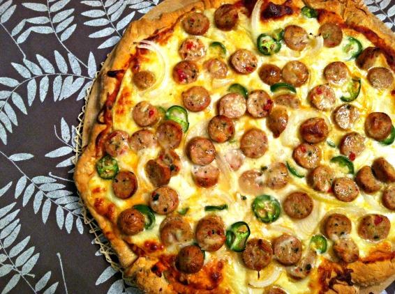 Riley's chicken sausage pizza