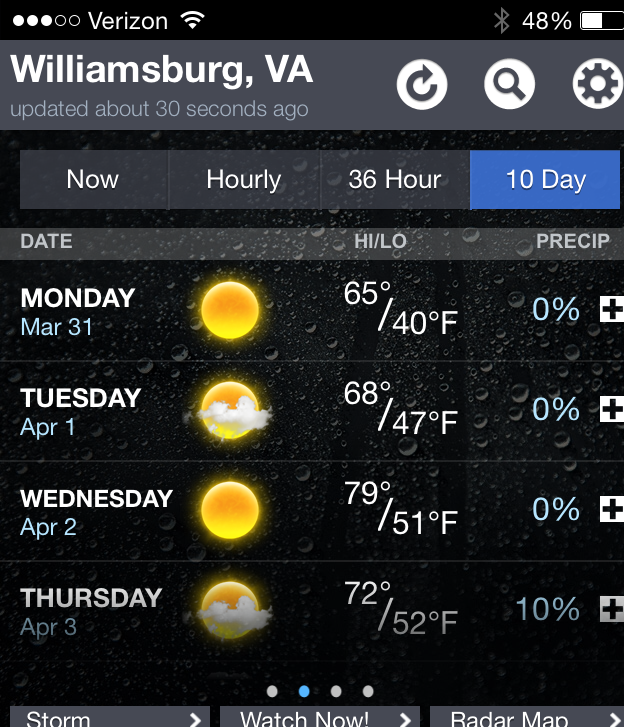 Williamsburg forecast