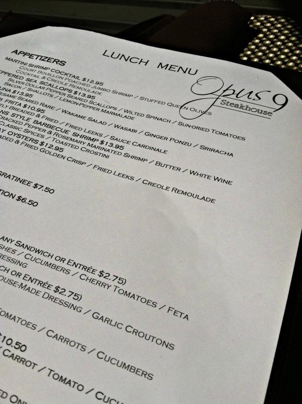 Opus 9 menu