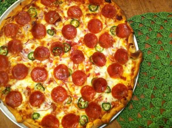 Pepperoni and jalapeno pizza