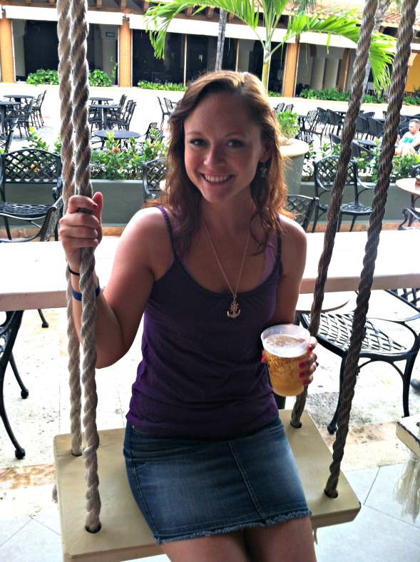 Kelly on swing at bar