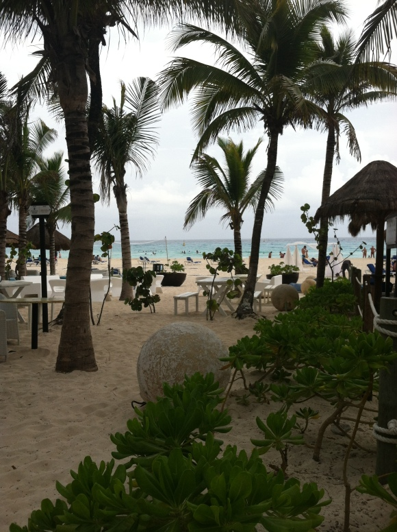 Playacar beach from bar