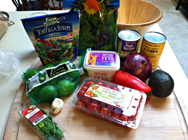 Southwestern shrimp salad ingredients